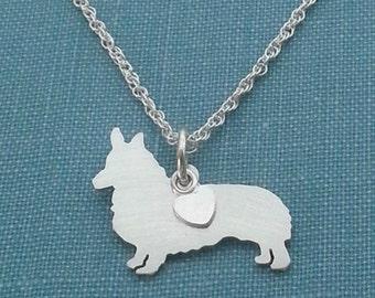 Corgi Dog Necklace, Pembroke Welsh Corgi Sterling Silver Personalize Pendant, Breed Silhouette Charm, Dog Lover Gift