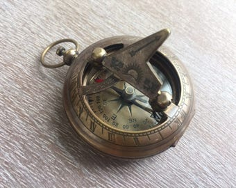 Antique Finish Brass Sundial Compass - Necklace Pendant - Old Vintage Pocket Style - Nautical Maritime Gift