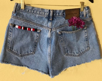 Vintage hand embroidered details High Waisted Denim  Cut Off Shorts all sizes