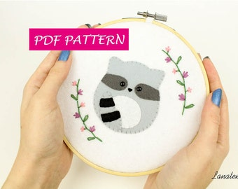 """PDF embroidery pattern racoon, 6"""" hoop, sewing pattern, felt, make your own, DIY, instant download, wall hanging ornament, studio decor"""
