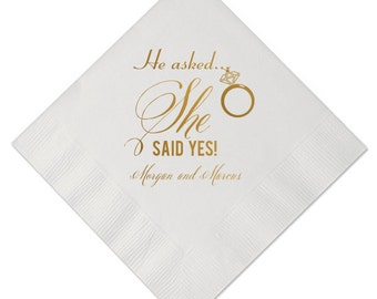 100 Personalized Napkins Beverage & Luncheon Size Available Wedding Napkins Shower Custom Monogram Engagement Diamond Ring She Said YES!