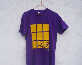 SUPER SALE! Bike by Window hand screen printed organic t-shirt for men in purple.