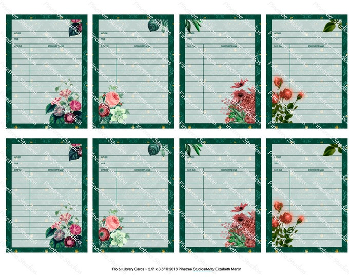 """Floral Library Cards (2.5""""x 3.5"""") ~ Digital Download ~ Printable / Label / Gift Tag / Bookplates / Bookmarks / ATC Cards"""