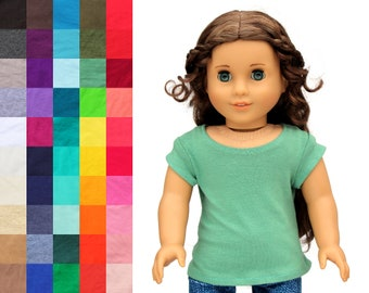 Fits like American Girl Doll Clothes - Cap-Sleeve Tee, You Choose Color | 18 Inch Doll Clothes
