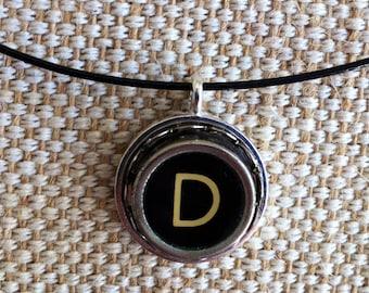 Typewriter key jewelry / letter D silver tone pendant on black neckwire / monogram pendant / typewriter key necklace