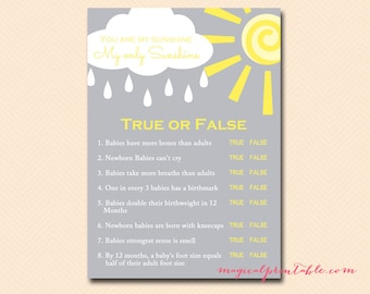 True or false baby shower game, baby shower quiz, You are my sunshine Baby Shower Games Printable, Gender Neutral baby, TLC112