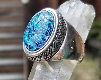 NEW Weaved Sterling Silver Cremation Jewelry Ring Ashes InFused Glass Pet Urn Ring Size 7 8
