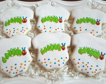 Very Hungry Caterpillar Onesie Cookies Party Favors