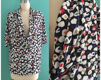 vintage 80's black floral print blouse // spring print top