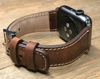 Personalized ANTIQUE Brown Color Apple iWatch Band, ANTIQUE Leather Watch Band, Distressed Leather Watch Band, Brown Leather Watch Band,
