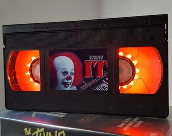 Retro VHS Lamp IT by Stephen King Night Light Table Lamp, Horror Movie . Order any movie! Great personal gift. Man Cave. Office. Mothers Day