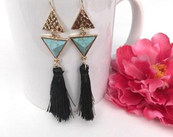 tassel earrings - turquoise drop earrings - bohemian jewelry accessory - turquoise jewelry - geometric gift jewelry - bohemian chic earrings