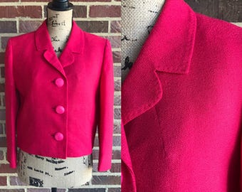 Vintage late 1950s early 1960s magenta pink colored blazer jacket