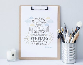 Good Thoughts Roald Dahl quote print