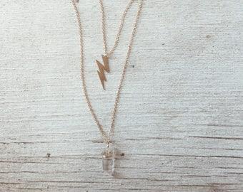 Lightening Bolt & Crystal Necklace