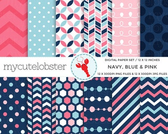 Navy, Blue & Pink Digital Paper Set - patterned paper pack, chevron, polka, honeycomb - personal use, small commercial use, instant download