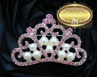 4 pcs Silver Metal Plating couronnée princesse mousseux rose pâle cristal perles et strass broche, diadème de cristal arc embellissement