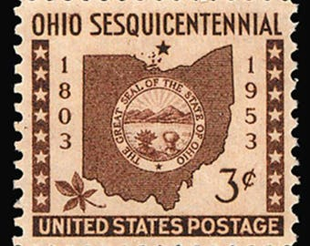 Ten (10) vintage unused postage stamps - Ohio sesquicentennial // 3 cent stamps // Face value 0.30