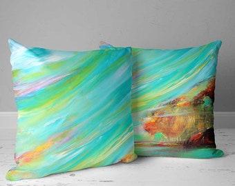 Throw Pillow Covers, Decorative Pillows, Accent Pillows, Art Pillow, Abstract Pillow Blue, Turquoise, Green Yellow Cushions, Sofa Pillows
