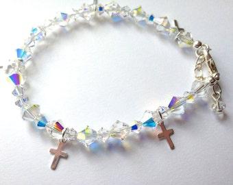 Swarovski Elements Bracelet, Cross Bracelet, Charm Bracelet, Religious Bracelet