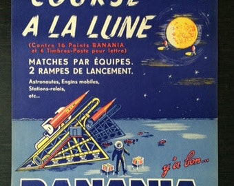 Original Vintage Poster: Banania in space