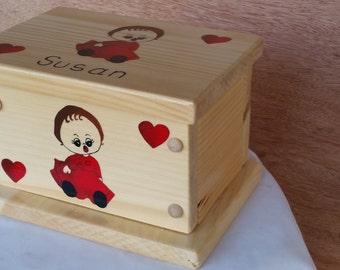 decorative box, child's gift box, wooden box, storage box, trinket box, painted box, kid's box, personalized box, jewelry box, wood box, box
