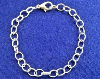 5 bracelets 20 cm, thin oval mesh silver creations bracelets charms...