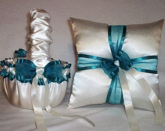 Ivory Cream Satin With Teal  Ribbon Trim Flower Girl Basket And Ring Bearer Pillow Set 2