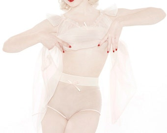 Love Letters Panty by Mosh & Dottie's Delights Sheer High Waist Knickers Peach or Black