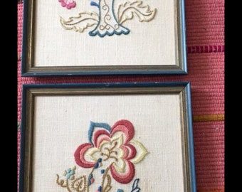 Vintage  framed hand embroidery