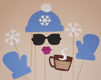 Winter Photo Booth Props - 8 piece set - GLITTER Photobooth Props - Snow Bunny, Periwinkle Blue