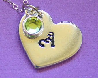 Hand Stamped Initial Heart Necklace - Bridesmaid Jewelry - Wedding Gift - Swarovski Birthstone - Monogram Pendant - Letter Necklace