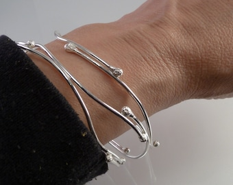 New Bud Bangle, single (1) one, Sterling silver, Hand made
