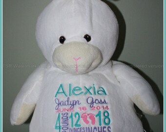 Birth Stat Pets Personalized Bunny stuffed Animal
