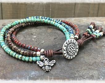 Beaded Wrap Bracelet/ Sunflower Wrap Bracelet/ Seed Bead Leather Wrap Bracelet/ Bohemian Bracelet/ Boho Wrap Bracelet/ Beaded Leather Wrap.
