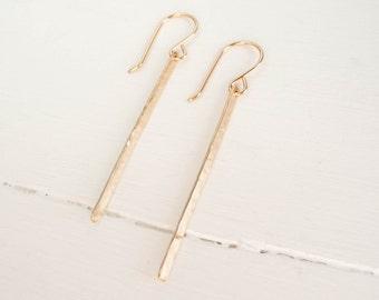 Long Gold Filled Bar Earrings - Handmade and Modern Earrings - Dangle Earrings