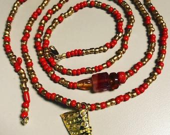Red and Gold Queen Nefertiti Waist Bead/ Waistbeads/Plus size waistbead