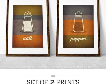 Set of 2 PRINTS. Kitchen print. Typographic print. Kitchen art. kitchen poster. Typography poster. Giclee. Orange print. Salt Pepper. UK