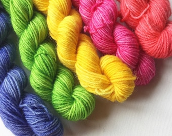 Blue Faced Leicester Sock minis. Bright minis on our Impudent Sock base