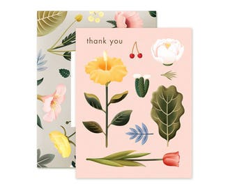 Pastel Blossoms Thank You Card - Blush