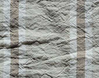woven 100% linen striped on aged linen fabric. Width 300 cm. Coupon of 50 cm.