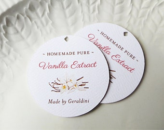 20 Round Vanilla Extract Tags, Wedding Favor Label, Vanilla Bean Illustration, Personalized Gift or Product Labels - Set of 20