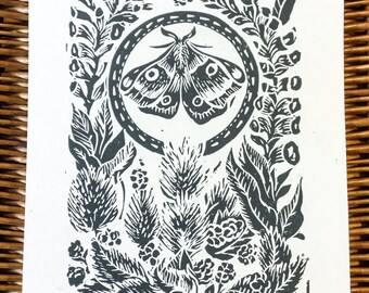 The wildlife garden original Lino print.