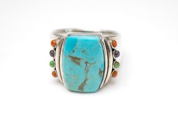 Sterling Blue Turquoise Ring Large rectangle  small amethyst coral chalcedony green turquoise gemstone   size 10 NK Thailand