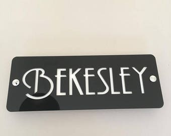 Rectangular House Name Sign - Several Colour Choices - Includes Chrome Fixing Kit