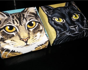 Two Custom Pet Portrait Paintings 6x6 hand painted, pet memorial, Christmas gift, personalized