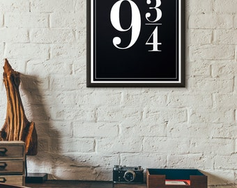 Platform 9 3/4 Harry Potter Decor Typographic Print