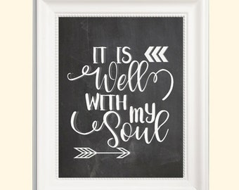 It is well with my Soul chalkboard print- 8x10- bible verse- print- home decor