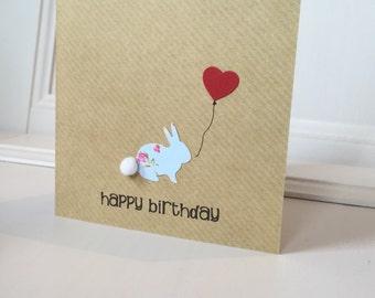 The Cutest Happy Birthday Bunny / Rabbit Card