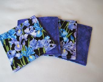 Blue and Purple Iris Coasters Reversible set of 4 or 6 Summer Coasters Lavender Mug Rugs Iris Table Decor Iris Kitchen Gardening Gift